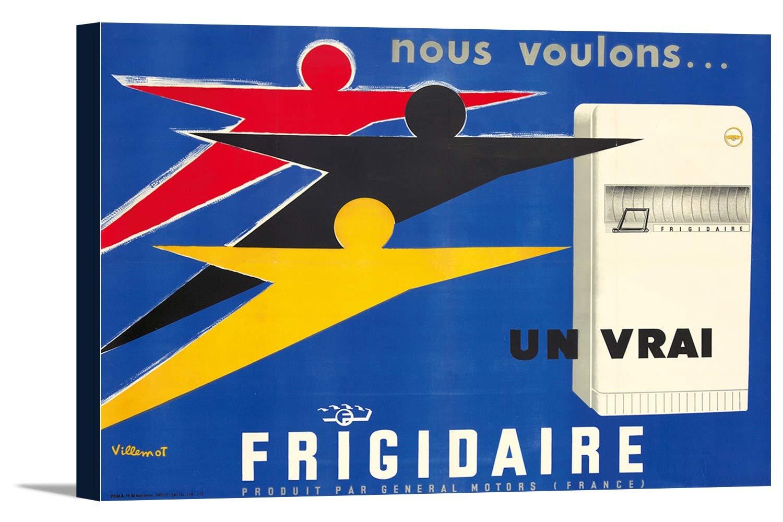 Frigidaireヴィンテージポスター(アーティスト: Villemot )フランスC。1956 24 x 16 Gallery Canvas LANT-3P-SC-74229-16x24 B01DZ225C0  24 x 16 Gallery Canvas