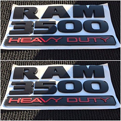 2X NEW DODGE RAM 3500 HEAVY DUTY BLACK 3M LOGO EMBLEM LETTERS NAMEPLATE - Ram New