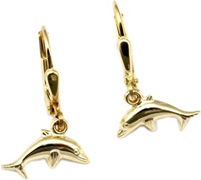 Bambini orecchini pendenti Delfino 3d lucido 585 Oro Giallo Oro qualità  z2577 5: Amazon.it: Gioielli