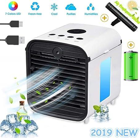 Nouveau Filtre Mobile Climatiseur Climatiseur Portable Air Mini Cooler 3 en 1 Rafraichisseur dair Ventilateur Humidificateur Purificateur,Anti-Fuites White,Rechargable+Sticks