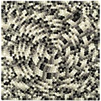 Safavieh Soho Collection SOH723A Handmade Abstract Mosaic Ivory and Grey Premium Wool Square Area Rug (6 Square)