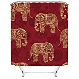 Gwein Traditional Indian Elephant Red Mildew Resistant Fabric Shower Curtain Waterproof/Water-Repellent & Antibacterial Shower Room Decor Shower Curtains 72' x 72'
