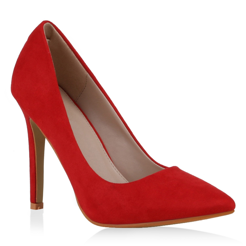 Stiefelparadies Damen Spitze Pumps mit Pfennigabsatz Flandell Rot Velours Camiri