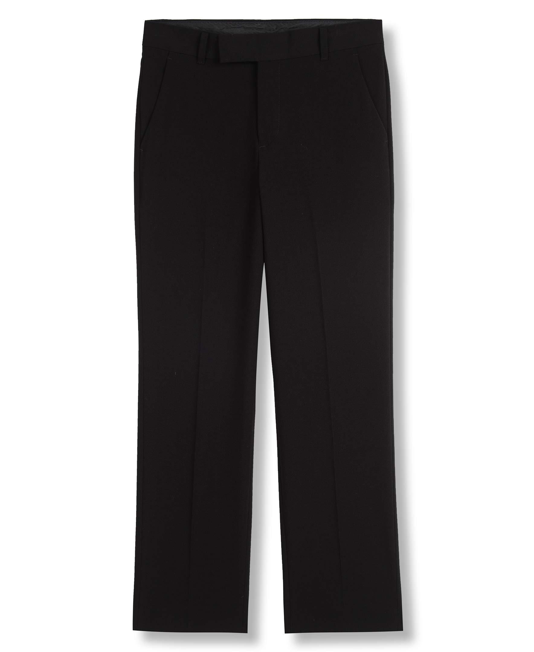 Calvin Klein Big Boys' Flat Front Pant , Black, 16
