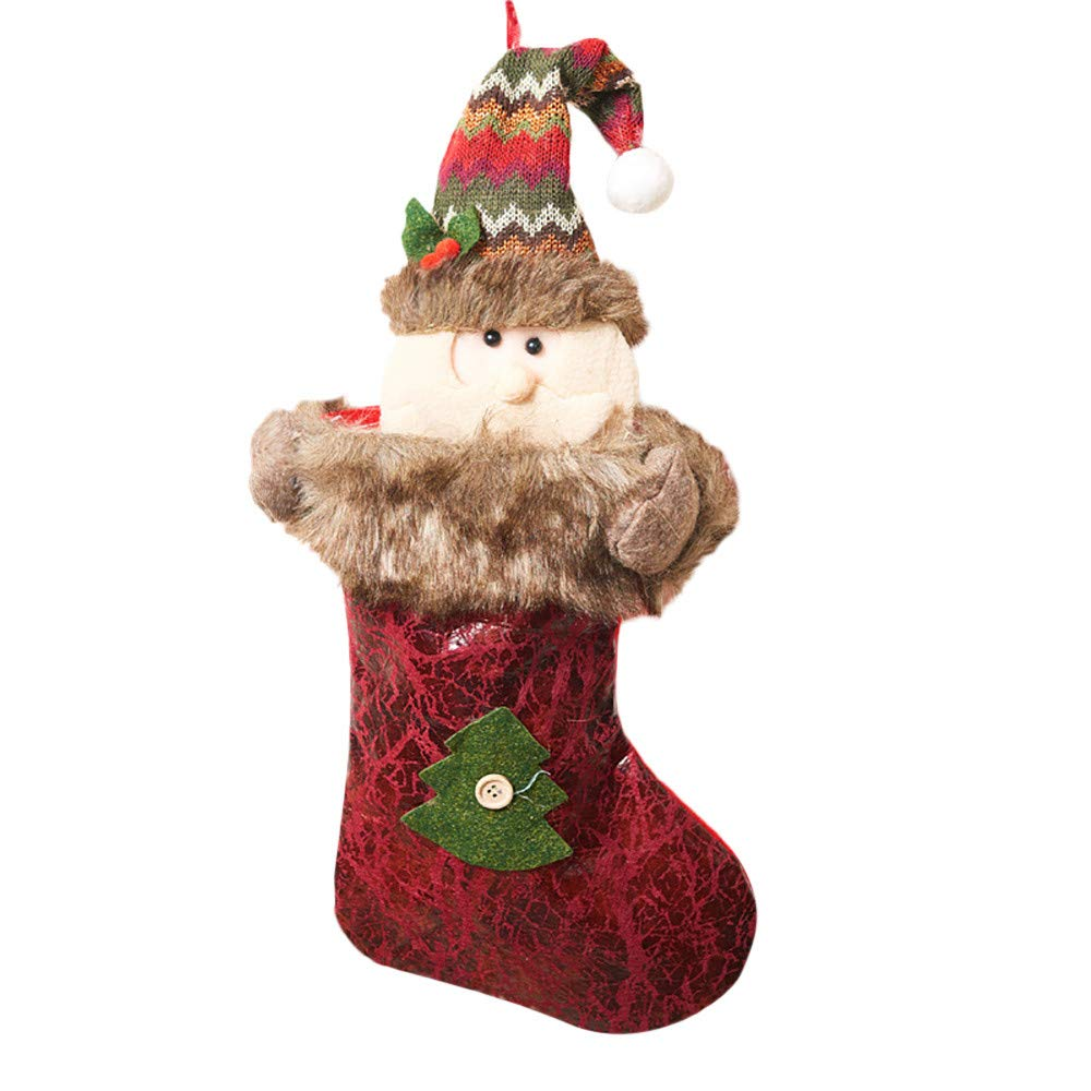 Fabal Christmas Stocking,Old Man,Snowman,elk,Mini Sock Santa Claus Candy Gift Bag Xmas Tree Hanging Decor (A)