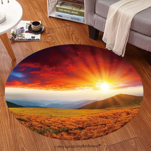 Sophiehome Soft Carpet 68258611 Majestic sunset in the mountains landscape HDR image Anti-skid Carpet Round 24 inches
