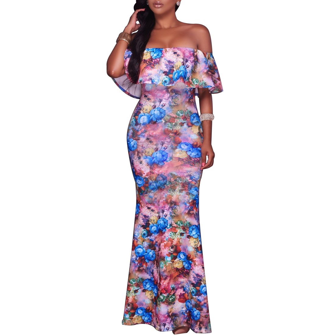 511bcf7e63b Dynen Women s Floral Print Off Shoulder Ruffle Party Long Maxi Dress at  Amazon Women s Clothing store
