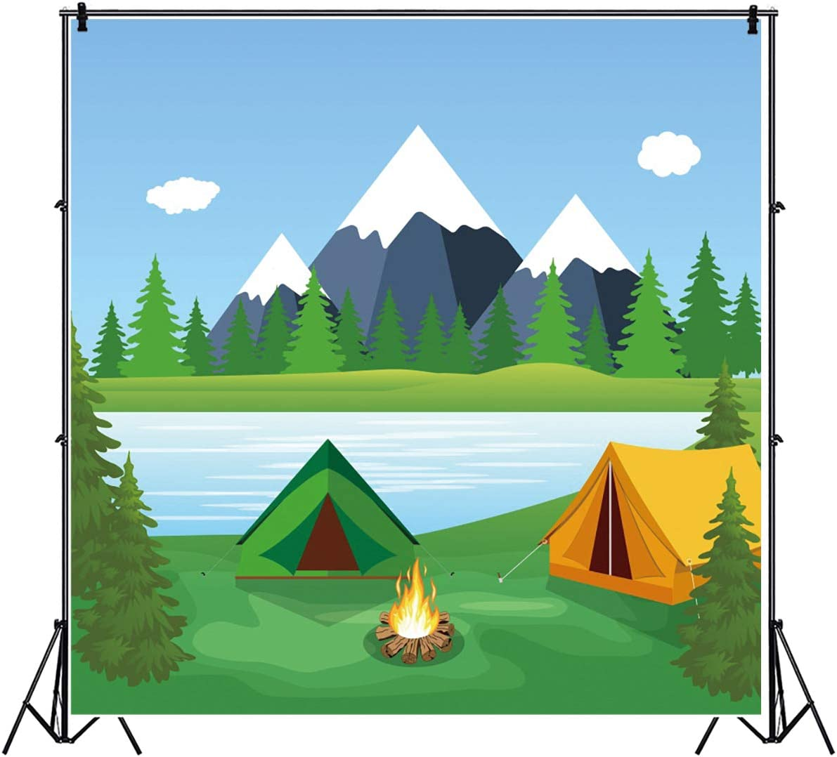 YEELE Safari Theme Backdrop Outdoor Camping in The Forest Photography Background 9x9ft Kids Birthday Cartoon Acting Show Portrait YouTube Channel Photo Booth Photoshoot Prop Digital Wallpaper