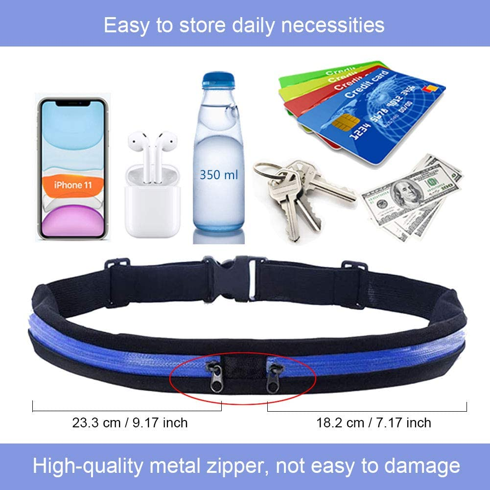 Workout Belt Pouch with Metal Zipper Adjustable Phone Holder for Running Accessories Money Belts for Travel Waterproof Anti-sweat Waist Bag Running Belt for Phone Black Fanny Packs for Women