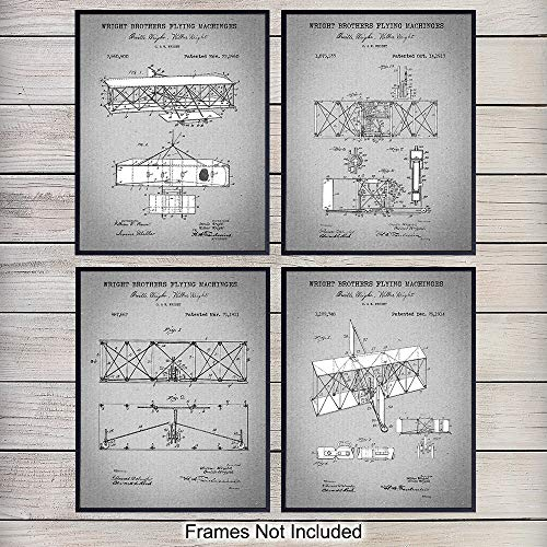 (Wright Brothers Aviation Patent Art Prints - Vintage Wall Art Poster Set - Home Decor for Living Room, Office, Man Cave - Great Gift for Pilots, Flight Instructors, Aviators - 8x10 Photo - Unframed)