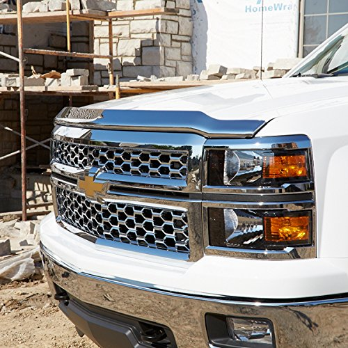 Chevy Silverado Hoods (Razer Auto 2014-2015 Chevy Silverado 1500 Triple Chrome Hood Shield Guard Bug Deflector)