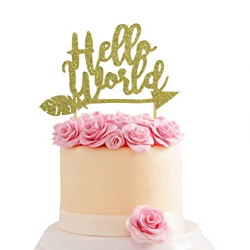 Hello World Newborn Birthday Party Baby Shower One Year Old Cake Topper Glitter