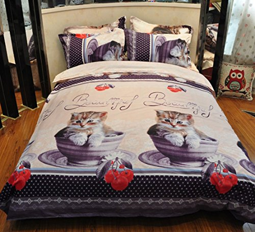 QiaoShang 3D Cat Print THIN Bedding Set Queen Size 4PCS Duvet/Quilt Cover Flat Sheet Pillowcases(without Fillings)