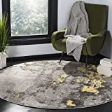 Safavieh Adirondack Collection ADR134H Grey and Yellow Modern Abstract Distressed Round Area Rug (6' in Diameter)
