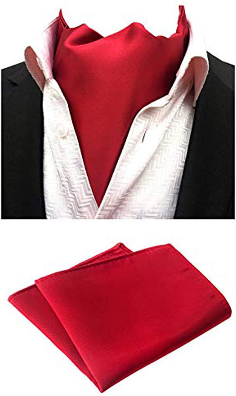 MOHSLEE Men Dark Red Classic Party Ascot Neckties Woven Cravat Pocket Square Set