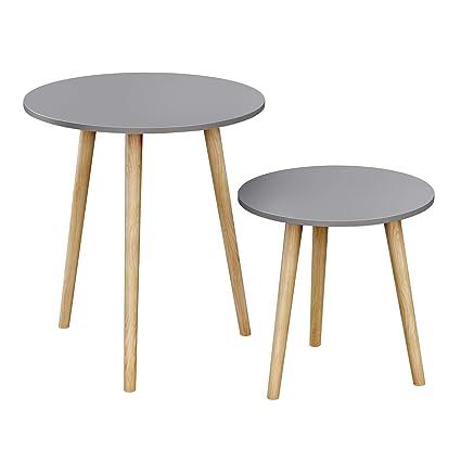 Tavolino Rotondo Sostenuto Da Un Treppiedi.Songmics Tavolino Rotondo Tavolino Moderno Minimalista Set Di 2 Tavolini Da Caffe Con Gambe In Legno Di Pino Stile Scandinavo Per Soggiorno