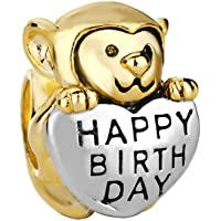 Monkey Love Happy Birthday Charm 22K Golden Plated Beads Sale Cheap Jewelry Fit Pandora Charm Bracelets