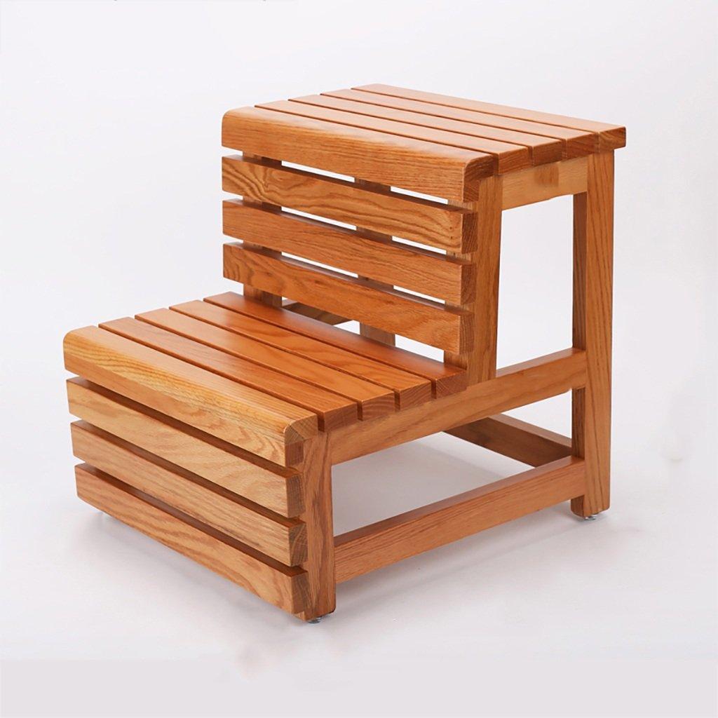 PENGFEI 折りたたみステップ多彩な 二重使用 無垢材 2ステップ 、42 * 46 * 45CM、3色 脚立 踏み台ステップ チェア (色 : Red oak wood color) B0776XZYGS Red oak wood color Red oak wood color