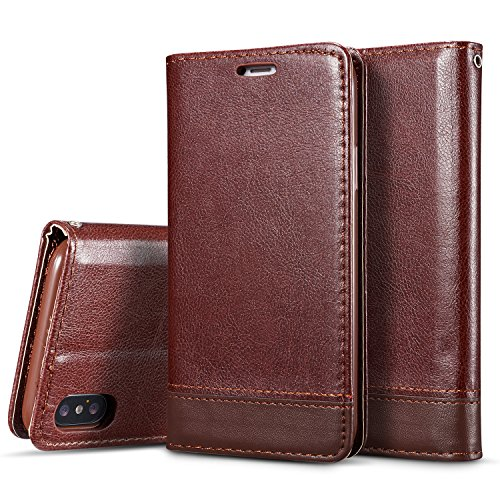 Crosspace iPhone Xs Max Case, iPhone Xs Max Wallet Case Flip [Ultra Slim] PU Leather Magnetic Folio Book Stand Protective Cover with Card Slots and Detachable Strap for iPhone Xs Max 6.5- Coffee