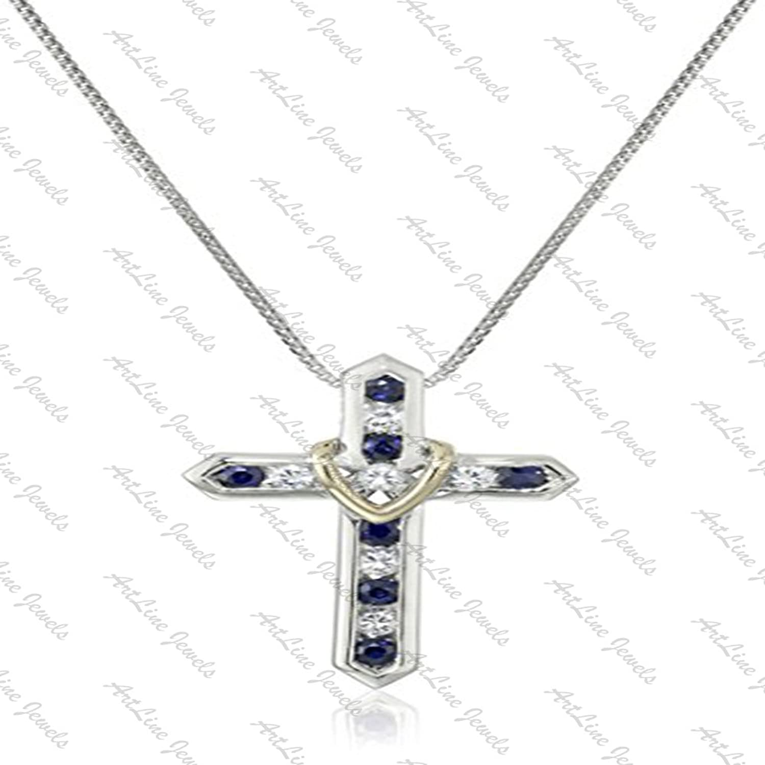 "ArtLine Jewels Religious Holy Cross Pendant Collection:-White Gold Plated Alloy Round Cut Simulated Blue & White Diamond Classic Holy Cross Pendant With Chain 18"" Unisex"