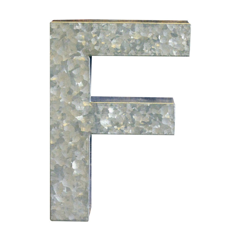 Modelli Creations Alphabet Letter F Wall Decor, Zinc