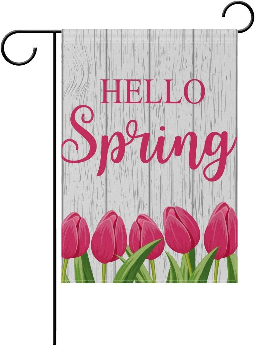 HOOSUNFlagrbfa Hello Spring Tulip Garden Flag Yard Banner Polyester for Home Flower Pot Outdoor Decor 12X18 Inch