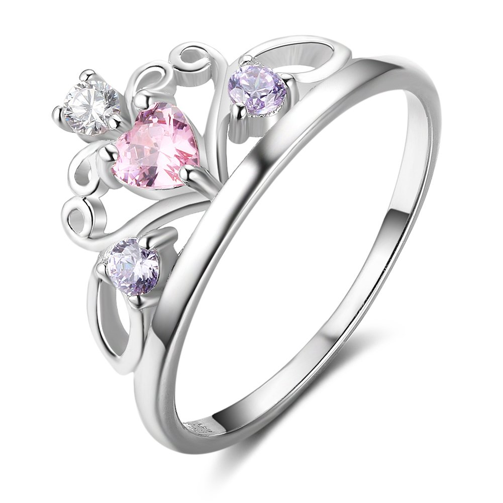 Furious Jewelry 925 Sterling Silver Princess Heart Shape Crown White, Pink & Purple CZ Band Ring, Size 6 7 8 (7)