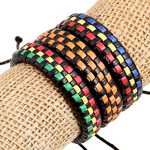 Bishilin New Popular Knitting Jewelry Blue Yellow Red Leather Cuff Wrap Bangle (Little Drummer Boy Costume Diy)