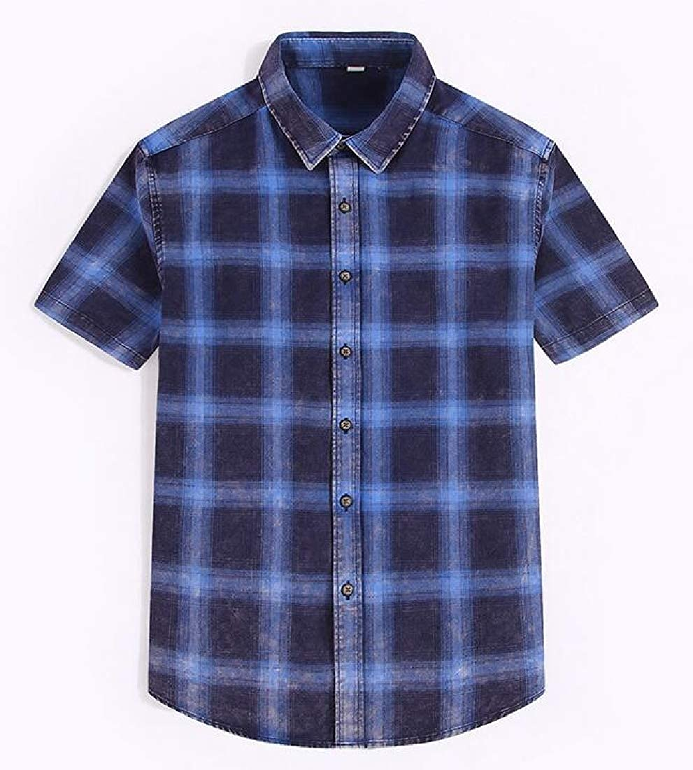 Cromoncent Mens Lapel Casual Button-Down Summer Short Sleeve Plaid Shirts