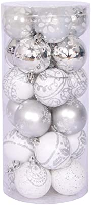 "Christmas Balls Christmas Tree Ornament Shatterproof Christmas Decorations Tree Balls for Holiday Xmas Party Decoration 24ct 6cm/2.36"" (Silver White)"