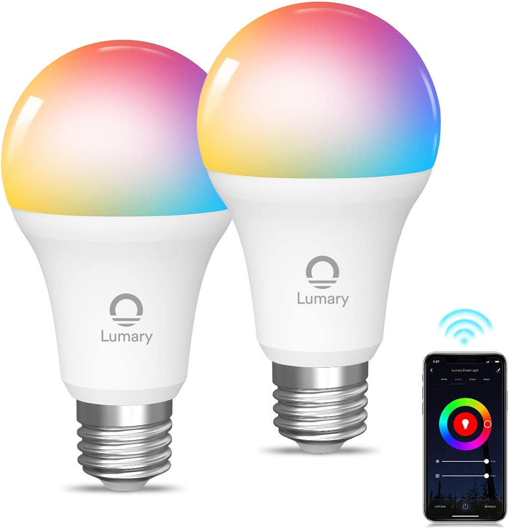 Bombilla LED Inteligente WiFi, Lumary 2PCS E27 Multicolor Bombilla LED 800LM RGBW 2700K-6000K, 9W Lámpara Regulable Compatible con Alexa, Google Home, App Control [Clase de eficiencia energética A++]