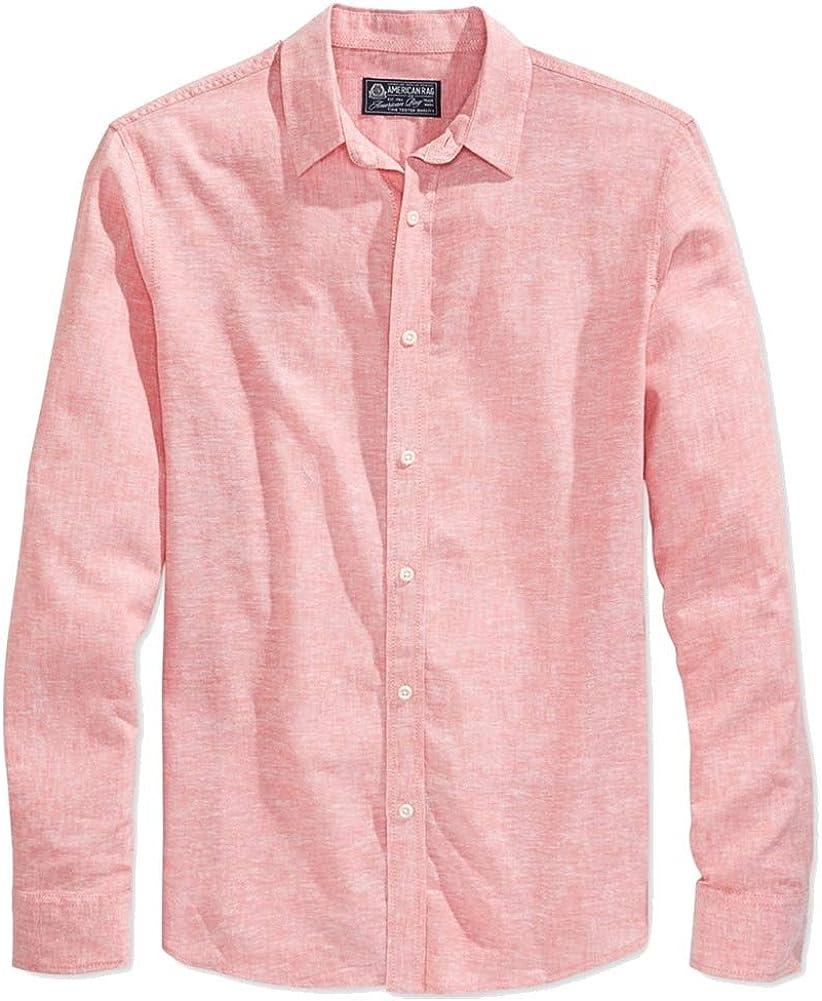 American Rag Mens Long Sleeve Linen Button Up Shirt