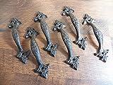 Set of 6 Amazing Cast Iron Elegant Gate or Door Pulls Handles