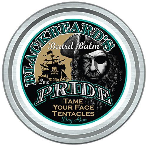 BlackBeard's Pride Beard & Mustache Balm, Bold Bay Rum Scent, Leave-in Hair and Skin Conditioner, 12 All Natural Pure Botanicals, Butters, and Essential Oils.