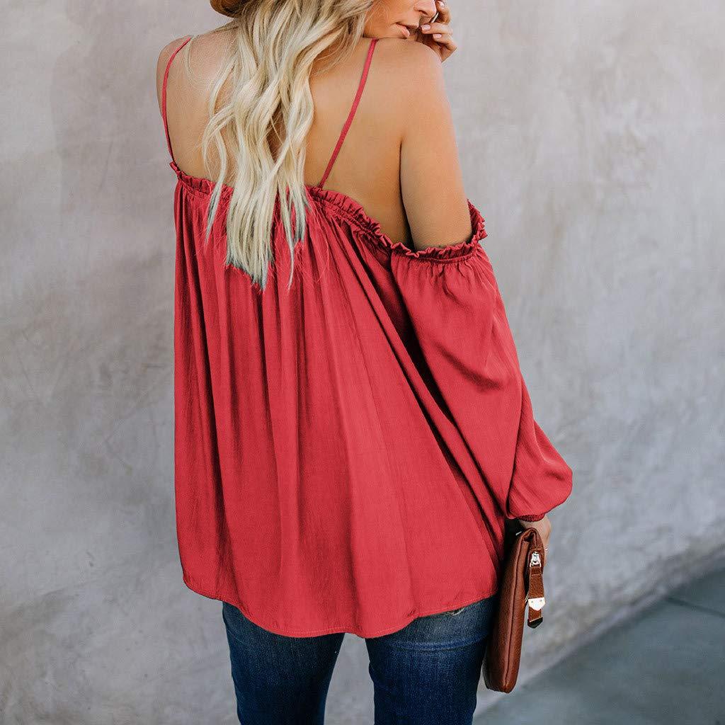 VLDO Blouse for Women Summer Off The Shoulder Tops Long Sleeve TieTops Shirt