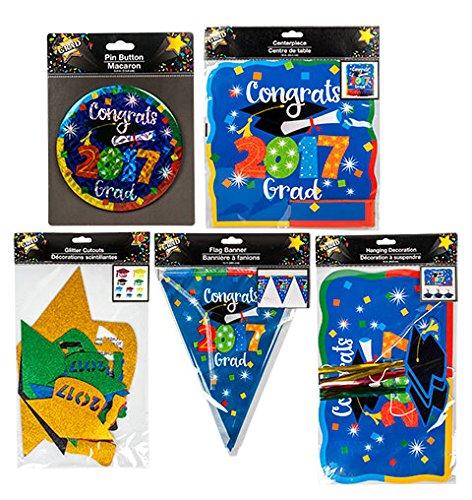 Graduation 2017 Party Decorations Combo Sets Includes Buttons, Flag Banners, Centerpiece, Glitter Graduation Hat Cutouts, Hanging (Preschool Graduation Ideas)