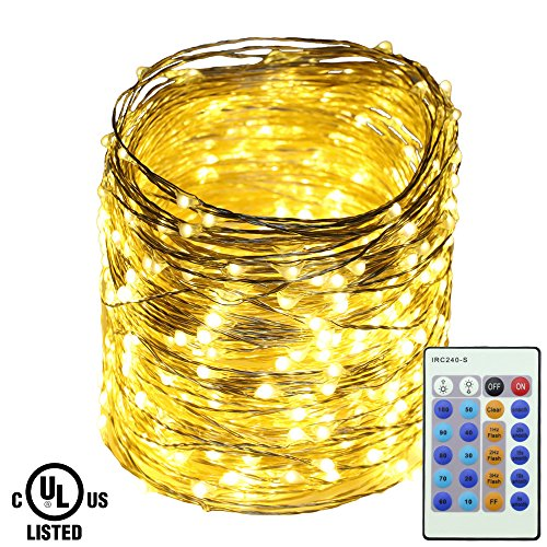 Ruichen Dimmable Adapter Powered Fairy Lights, 165FT 500 LEDs Plug in Silver Copper Wire Decorative LED Starry String Lights with Remote Control for Wedding Christmas Party Bedroom (Warm White)