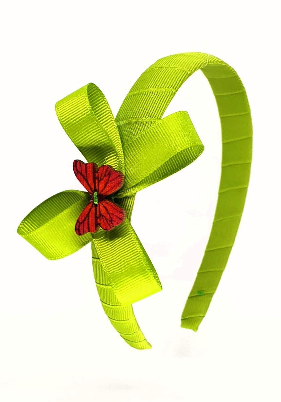 Cerchietto per capelli fatto a mano in grosgrain con fiocco e delicata farfalla