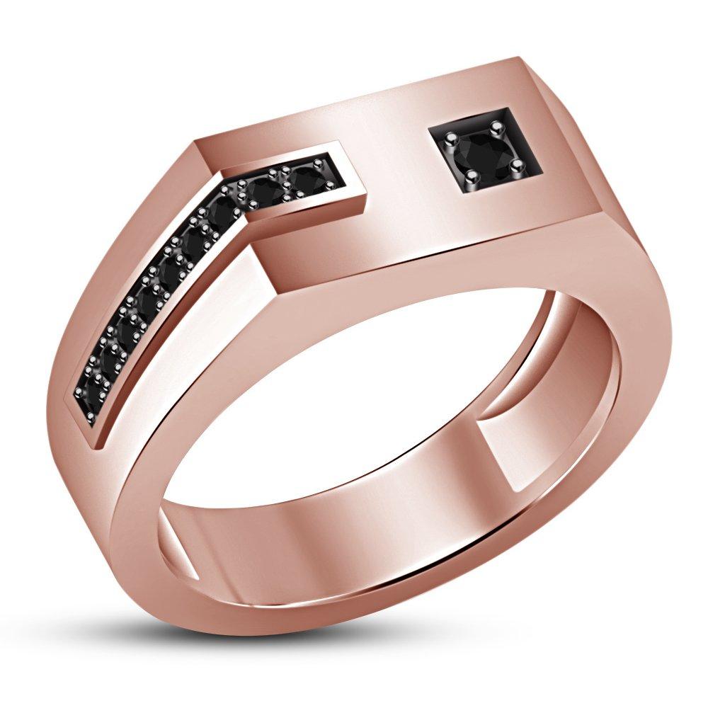 Vorra Fashion - Anillo de compromiso para hombre, ajuste cómodo, plata de ley 925, chapado en oro rosa de 14 quilates
