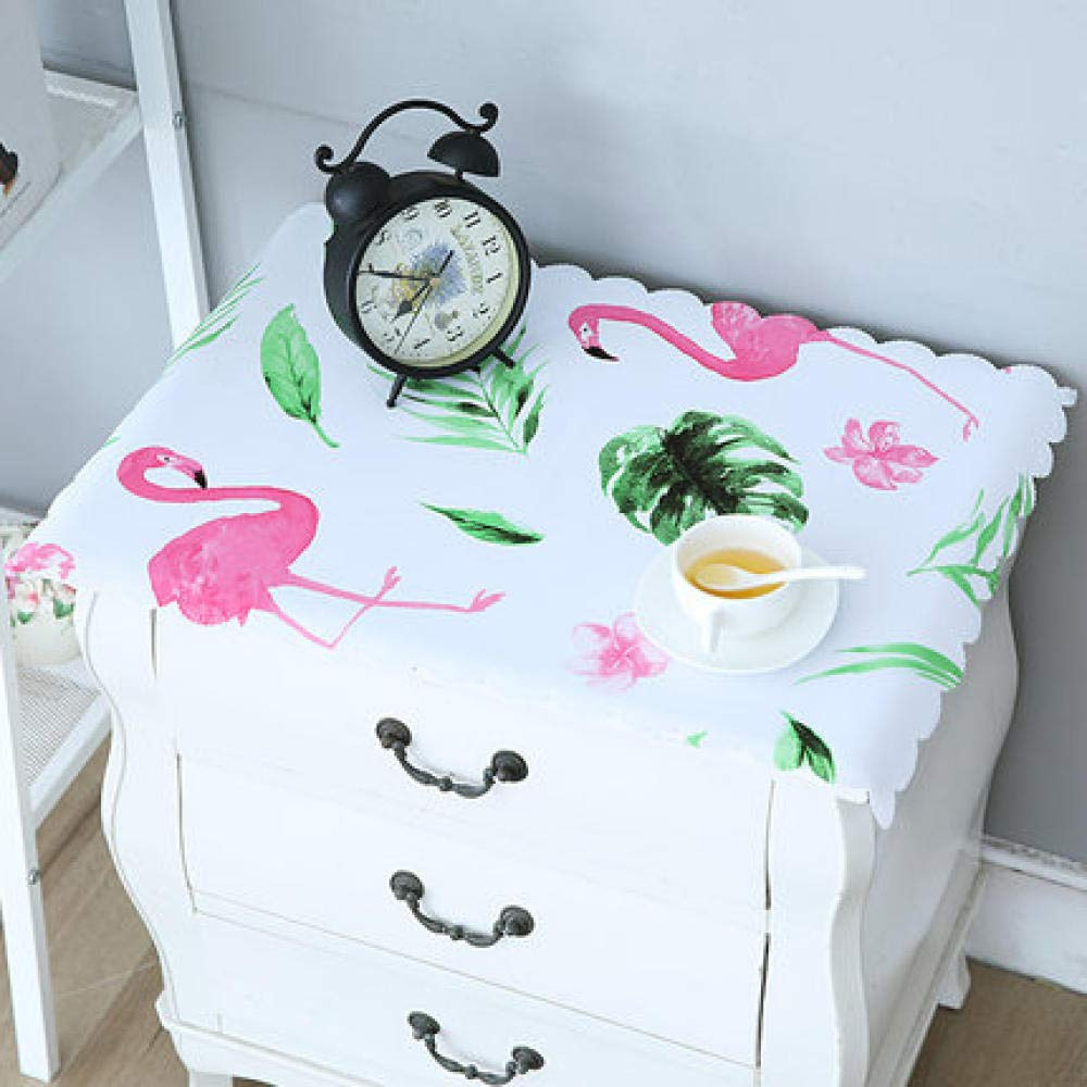 WJJYTX tischdecke Plastik, Nachttischdecke Abwischbare Vinyl-Tischdecke Stilvolles Muster Wasserdichtes kleines Quadrat Flamingo @ 40 * 60