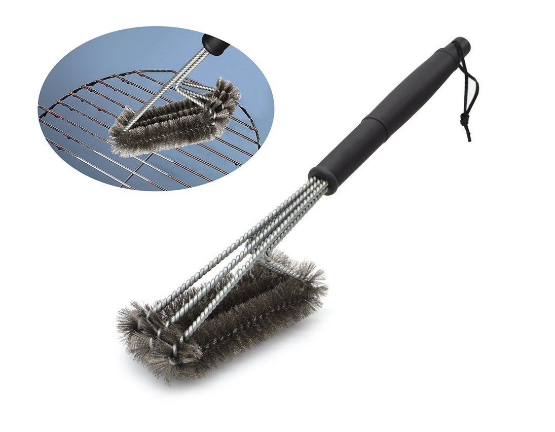 Aehrebrn BBQ Grill Brush (STAINLESS STEEL)-Barbecue Cleaning Brush and Soft Comfortable Handle - Perfect Cleaner & Scraper for Grill Cooking Grates, Racks, & Burners. A Perfect Gift For Barbecue Lovers. BBQGrillBrush