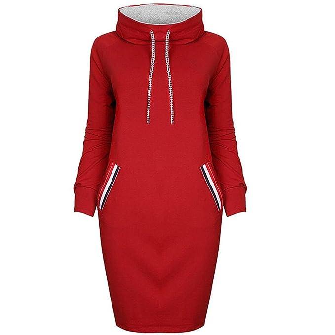 Las Mujeres Vestidos Sudaderas Cortos Cuello Alto Sweatshirt Deporte Pullover Manga Largos Rayas Bolsillos Elegante Cálido Vestido Sudadera Fiesta Otoño ...