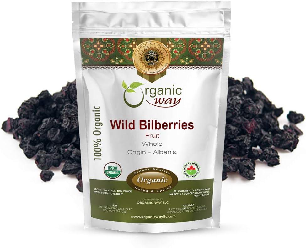 Organic Way Wild Bilberries Dried Fruit Whole (Vaccinium myrtillus) - European Wild-Harvest | Organic & Kosher Certified | Non GMO & Gluten Free | USDA Certified | Origin - Albania (1 LBS / 16 Oz)