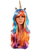 June Bloomy Women Ear Unicorn Rainbow Wig Long Wave Cosplay Party Wig