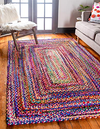 Unique Loom Braided Chindi Collection Casual Modern Multi Area Rug (8' 0 x 10' 0)