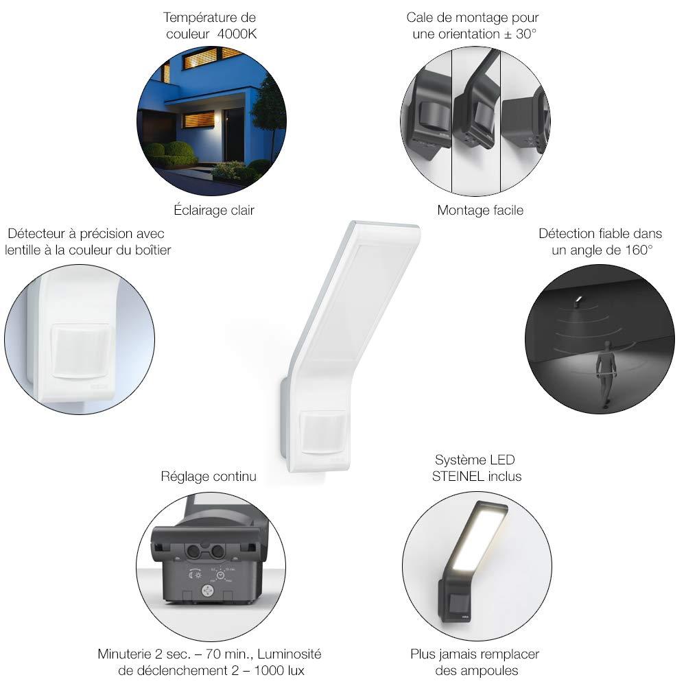 Spot Applique murale moderne pour lentr/ée Lampe ext/érieure LED 10,5W avec capteur de pr/ésence Steinel Projecteur XLED Slim avec d/étecteur de mouvement 160/°