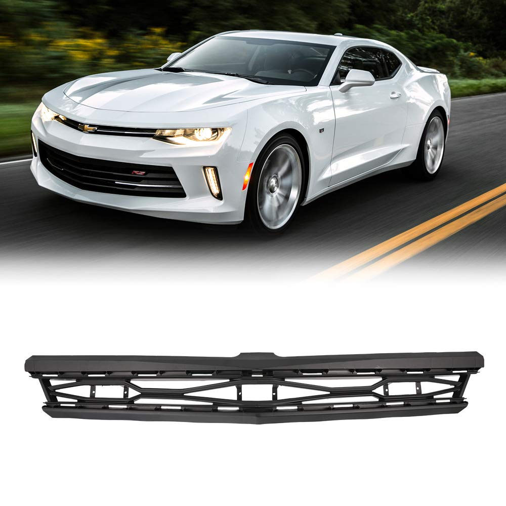 BUNKER INDUST Front Bumper Grille Grill Black Mesh Front Hood Bumper Grill Grille Cover Conversion Fit for 2016-2017 Chevy Camaro 1LT and RS