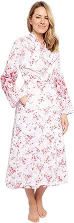 Cyberjammies 1369 Women's Nora Rose Portia Pink Floral Print Cotton Woven Long Robe