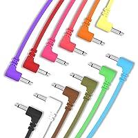 """ExcelValley - 12 Pack - Cables de Conexión Mono Modulares de Ángulo Recto - 3,5mm 1/8"""" Eurorack Sintetizador - 10 cm - 3…"""