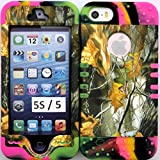 Iphone 5s / 5 Mossy Camouflage Oak Protective Cover Case on Two Tone 3 Silicone Gel Hybrid Dual Layer Case Cover.